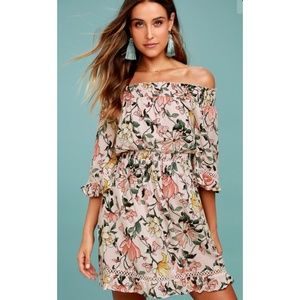 Lulus Blush Pink Floral Off -The- Shoulder Dress